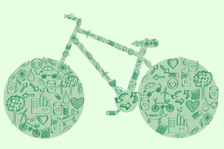 viewfinderchallenge3: Concept of eco green way of life bicycle of hand drawn eco icons