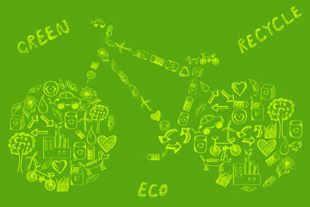 viewfinderchallenge3: Concept of eco green way of life bike made of hand drawn eco icons on green backdrop Illustration