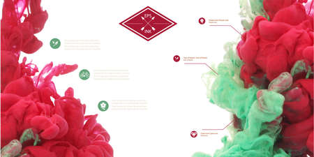 swirling: Set of vector ink swirling in water. Isolated cloud of red and green ink on white. Template design for banner. Paint in water on white background. Splashes of paint. Texture of ink, paint in water