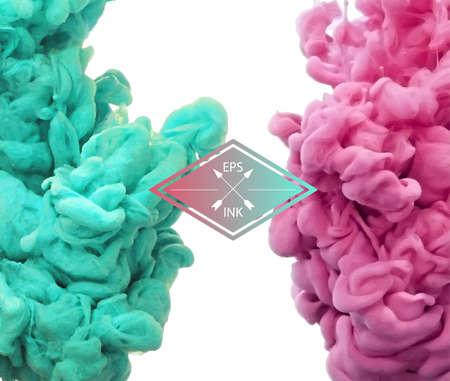 Vecteur d'encre tourbillonnant dans l'eau. Nuage isolé de l'encre rose et vert sur fond blanc. Template design pour l'infographie. Peinture à l'eau sur fond blanc. Éclaboussures de peinture. Texture d'encre, de la peinture dans l'eau