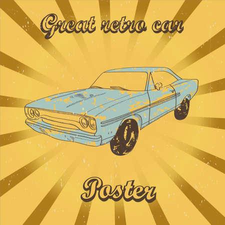 Poster with blue retro car on sunrays background Ilustração