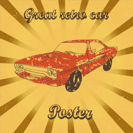 Poster with red retro car on sunrays background Stock fotó - 33652634