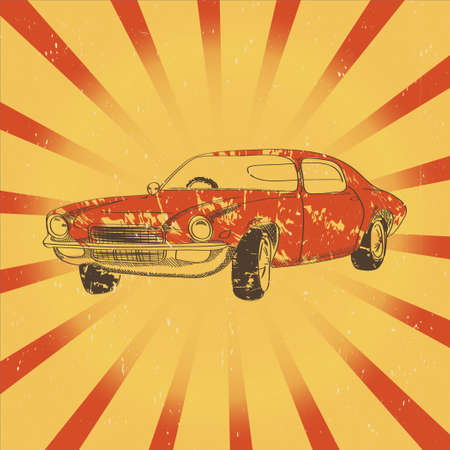sunrays: Poster with red retro car on sunrays background Illustration