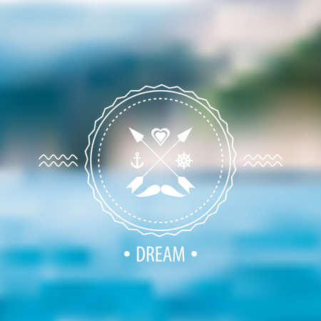 Vector blurred sea and hipster badge, label on the background of nature sea view. Web,mobile interface template, website template. Blur backdrop and badge with mustache and arrows.Ecological and green Vector