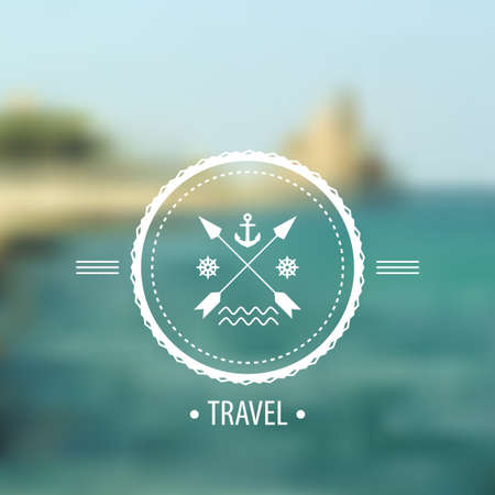Blurred sea and hipster badge, label on the background of nature sea view. Web,mobile interface template, website template. Blur backdrop and badge with anchor and arrows. Ecological and green.Vector