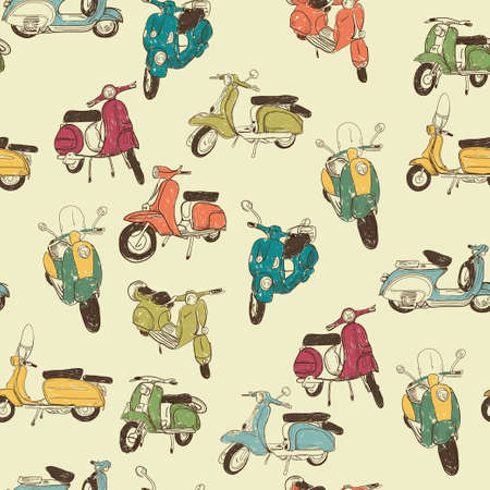 60s: Seamless pattern with retro scooters on sketch background