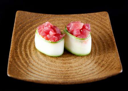 gastronome: Fresh raw sushi tuna Gunkan Stock Photo