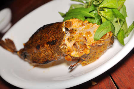 boxfish: Grilled boxfish on the dish in the restaurant Stock Photo