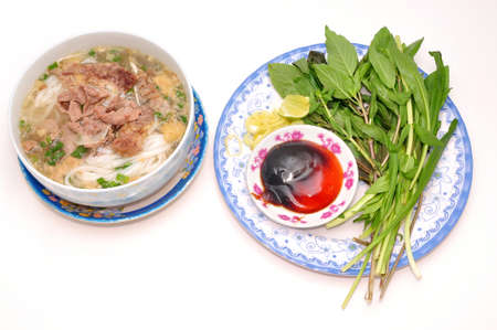 Pho or Vietnamese rice vermicelli noodle with beef photo