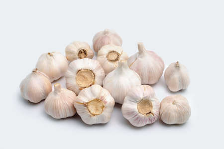 the land of menu: Garlic on a white background