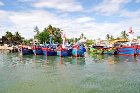 mooring: Fishing boats are mooring