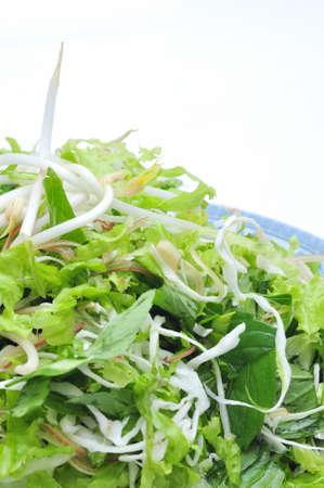 Schotel van Vietnamese kruiden op een witte achtergrond