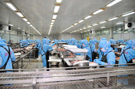 DA NANG, VIETNAM - MARCH 6, 2015: Workers are working in a seafood processing plant for exporting shrimp Editorial