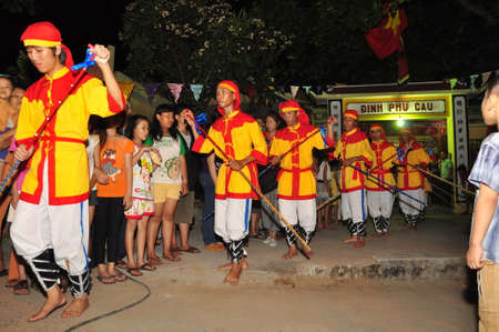 cau: PHU YEN, VIETNAM - MARCH 30, 2014: Cau Ngu festival in Vietnam, which is also called Whale festival, is the biggest festival for fisherman who demand for air windless sea and luck in fishing