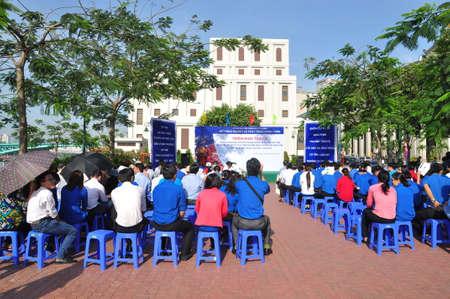 fisheries: HO CHI MINH CITY, VIETNAM - APRIL 24, 2015: Celebrating the National Fisheries day in Vietnam in Saigon river