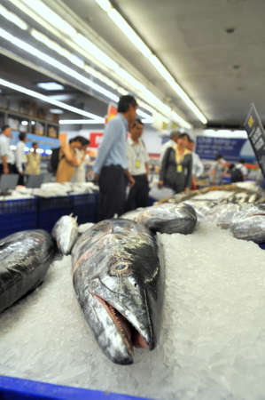 HO CHI MINH CITY, VIETNAM - OCTOBER 8, 2013: Many kinds of fish are for sale in a modern supermarket in Vietnam Editorial