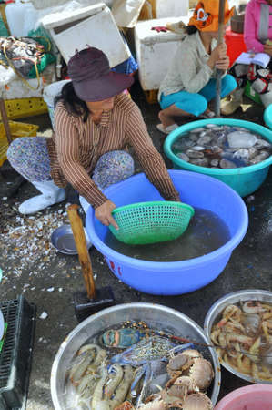 forage fish: NHA TRANG, VIETNAM - OCTOBER 5, 2011: A Woman is selling fresh fishes at a local seafood market in Vinh Luong port Editorial