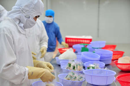 antidumping: VUNG TAU, VIETNAM - DECEMBER 9, 2014: Workers are packaging product for export in a seafood factory in Vietnam