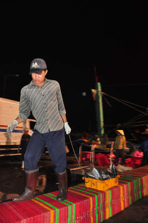 forage fish: NHA TRANG, VIETNAM - FEBRUARY 21, 2013: Porters at the Hon Ro seaport are loading baskets of fishes onto the truck to a local processing plant in Nha Trang city
