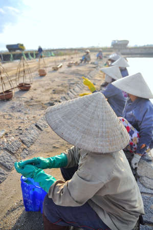 NINH HOA, VIETNAM - MARCH 2, 2012: Vietnamese women salt workers are relaxing after working hard to collect salt from the extract fields to the storage fields