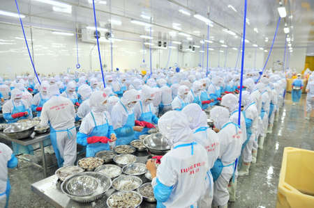 rang: PHAN RANG, VIETNAM - DECEMBER 29, 2014: Workers are peeling and processing fresh raw shrimps in a seafood factory in Vietnam