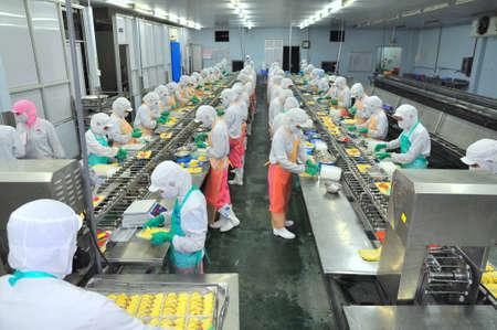 호치민 시티, 베트남 - 2011 년 10 월 3 일 : 노동자 호치민시, 베트남 해산물 공장에서 생산 라인에 열심히 노력하고 있습니다