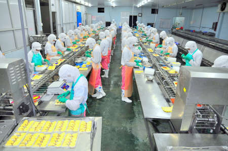 factory line: HO CHI MINH CITY, VIETNAM - OCTOBER 3, 2011: Workers are working hard on a production line in a seafood factory in Ho Chi Minh city, Vietnam