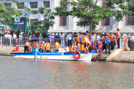 HO CHI MINH CITY, VIETNAM - APRIL 24, 2015: Celebrating the National Fisheries day in Vietnam in Saigon river