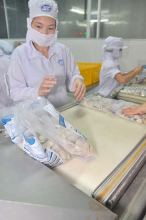 countervailing duty: TIEN GIANG, VIETNAM - SEPTEMBER 11, 2013: Clams are being washed and packaged in a seafood processing plant in Tien Giang, a province in the Mekong delta of Vietnam