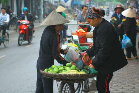 street vendor: NAM DINH, VIETNAM - MARCH 30, 2010: Street vendor of fruits on a pavement in Nam Dinh city Editorial