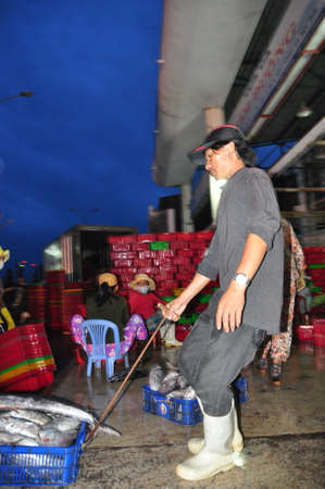exploited: NHA TRANG, VIETNAM - FEBRUARY 21, 2013: Porters at the Hon Ro seaport are loading baskets of fishes onto the truck to a local processing plant in Nha Trang city