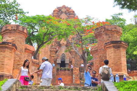 Nha Trang, Vietnam - July 11, 2015: Travellers are visiting the Ponagar temple in Nha Trang
