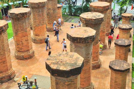 trang: Nha Trang, Vietnam - July 11, 2015: Travellers are visiting the Ponagar temple in Nha Trang