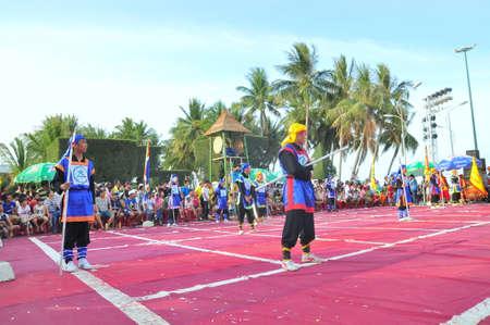 martial arts: Nha Trang, Vietnam - July 13, 2015: Martial arts of human chess in a festival on the beach of Nha Trang city
