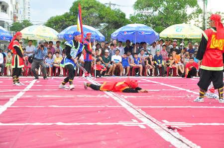 Nha Trang, Vietnam - July 13, 2015: Martial arts of human chess in a festival on the beach of Nha Trang city