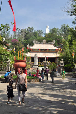 veneration: Nha Trang, Vietnam - February 7, 2016: People are visiting pagoda on the first day of the lunar new year in Vietnam