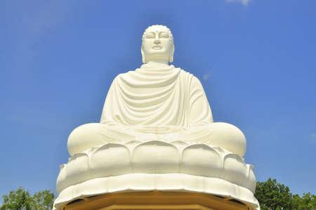monasteries: White big statue of Buddha