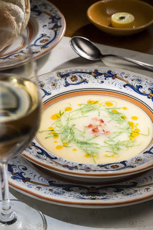 stracciatella: Plate of miso soup on the table in restaurant