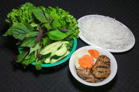 Bun cha or Vietnamese Kebab rice noodles Obama