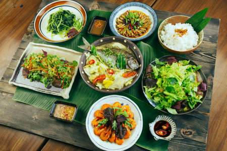 lunch tray: A traditional Vietnamese tray of meal for dinner or lunch