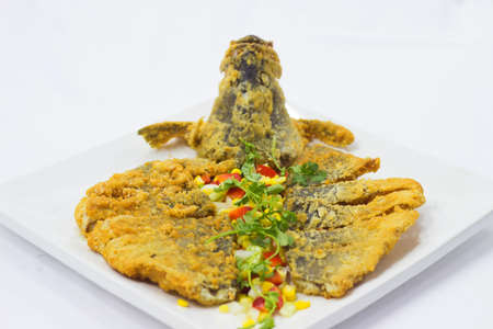 snake head fish: Fried breaded snake head fish
