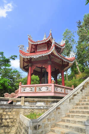 A traditional Chinese pagoda in a temple in asia Stock Photo