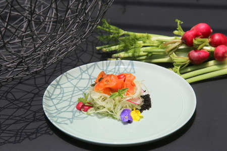 Salad of salmon and onion Stock Photo