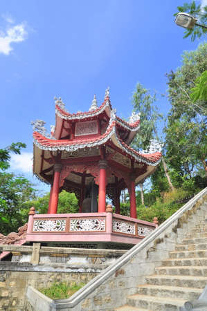 A traditional Chinese pagoda in a temple in asia Banco de Imagens