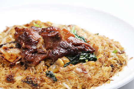 Pig trooter beehoon of Chinese style on white dish