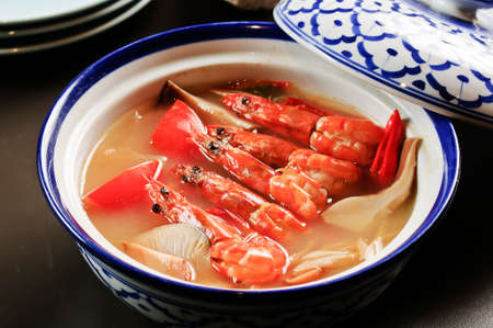Shrimp soup with mushroom in Chinese style on bowl