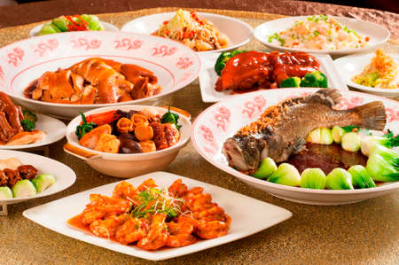 Festival fortune lunch or dinner buffet in Chinese style in asia Standard-Bild