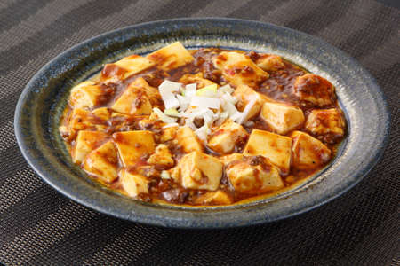 bean curd: Mabo tofu with tomatoes soup and onion on chinese plate