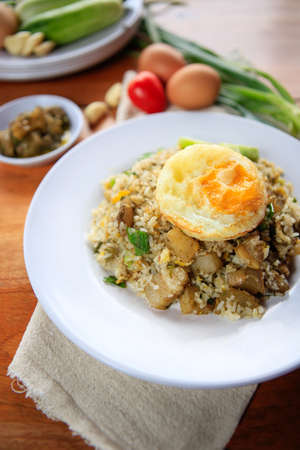 nasi: Indonesia Nasi Goreng fried rice with egg on white plate