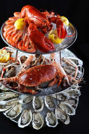 Buffet de marisco con langosta, ostras, cangrejos y camarones mantis en la bandeja de hielo en el fondo negro Foto de archivo - 63088080